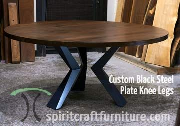 afc5e0d758d6 Custom made solid black walnut round dining top with custom made welded  steel knee legs handcrafted for chicago client