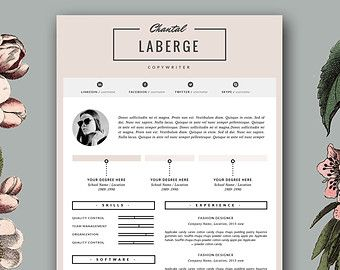 Fashion Resume Templates Resume Template And Cover Letter For Word & Pages  3 Page Resume
