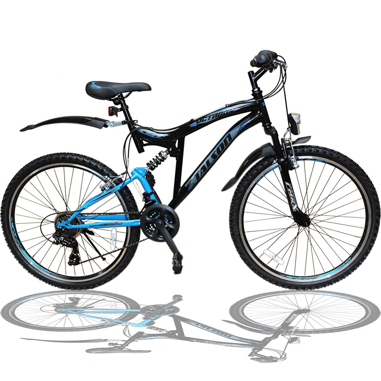 Talson 26 Zoll Mountainbike Fahrrad Mit Vollfederung Beleuchtung 21 Gang Shimano Oxt Black Amazon De Sport Freizeit Fa Mountainbike Kinderfahrrad Fahrrad