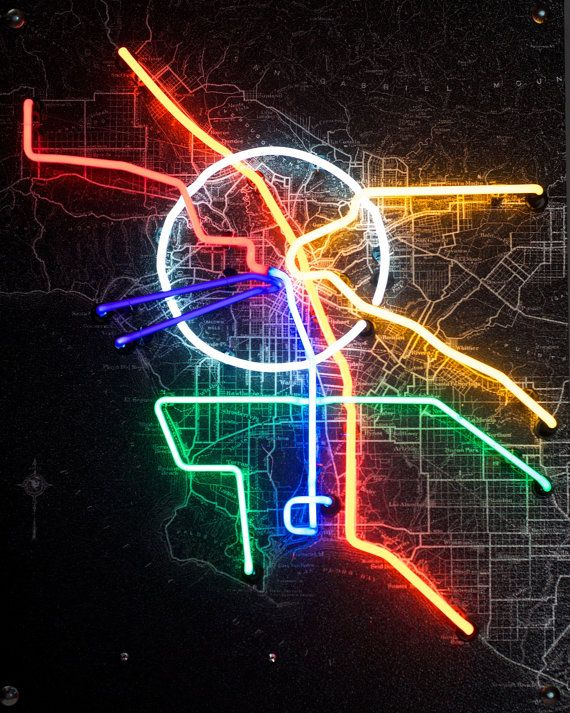 Subway Map Sign.Los Angeles Subway Map In Neon By Neonandphotography On Etsy