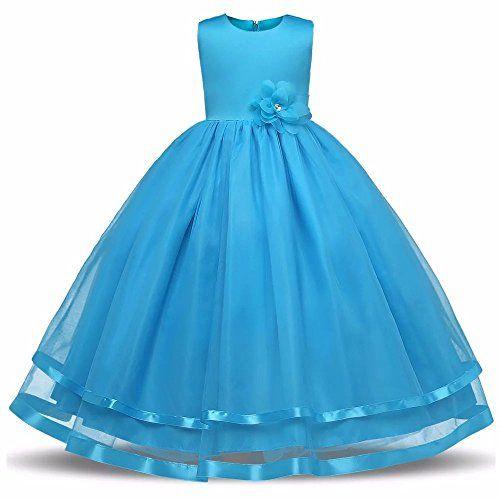 ZAH Girl Dress Kids Ruffles Lace Party Wedding Dresses(Bl ...