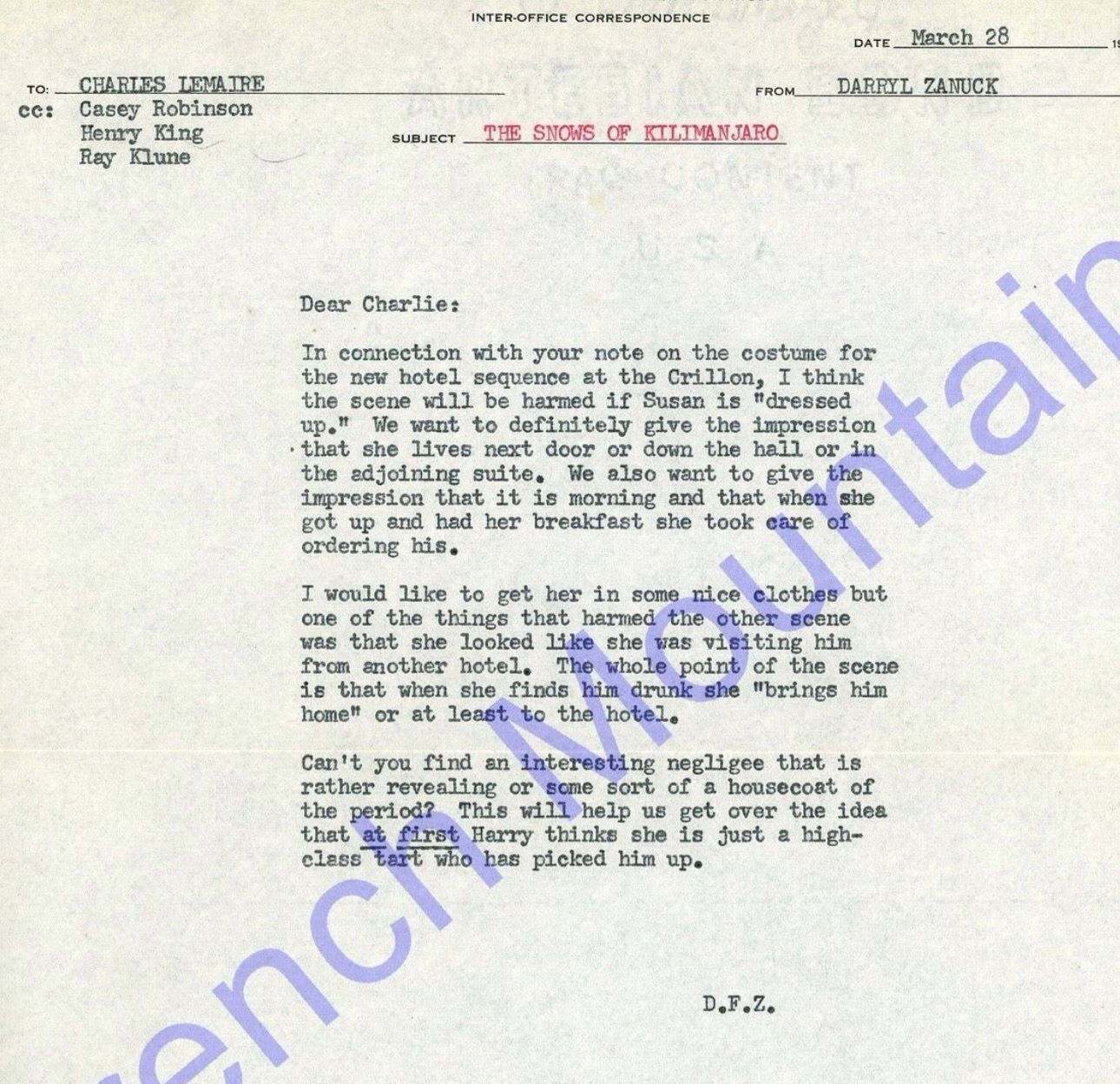 Response Letter From Producer Daniel F Zanuck To Costume Designer
