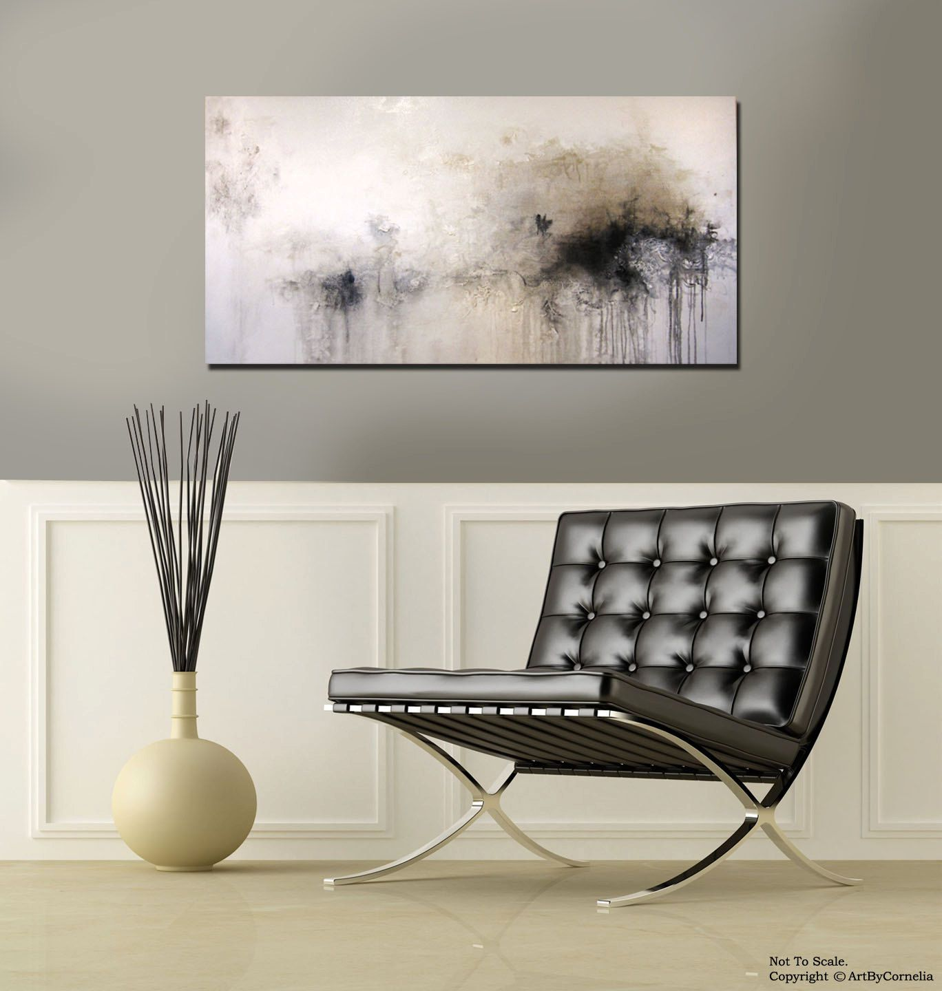 Textured gold black graywhite contemporary abstract painting
