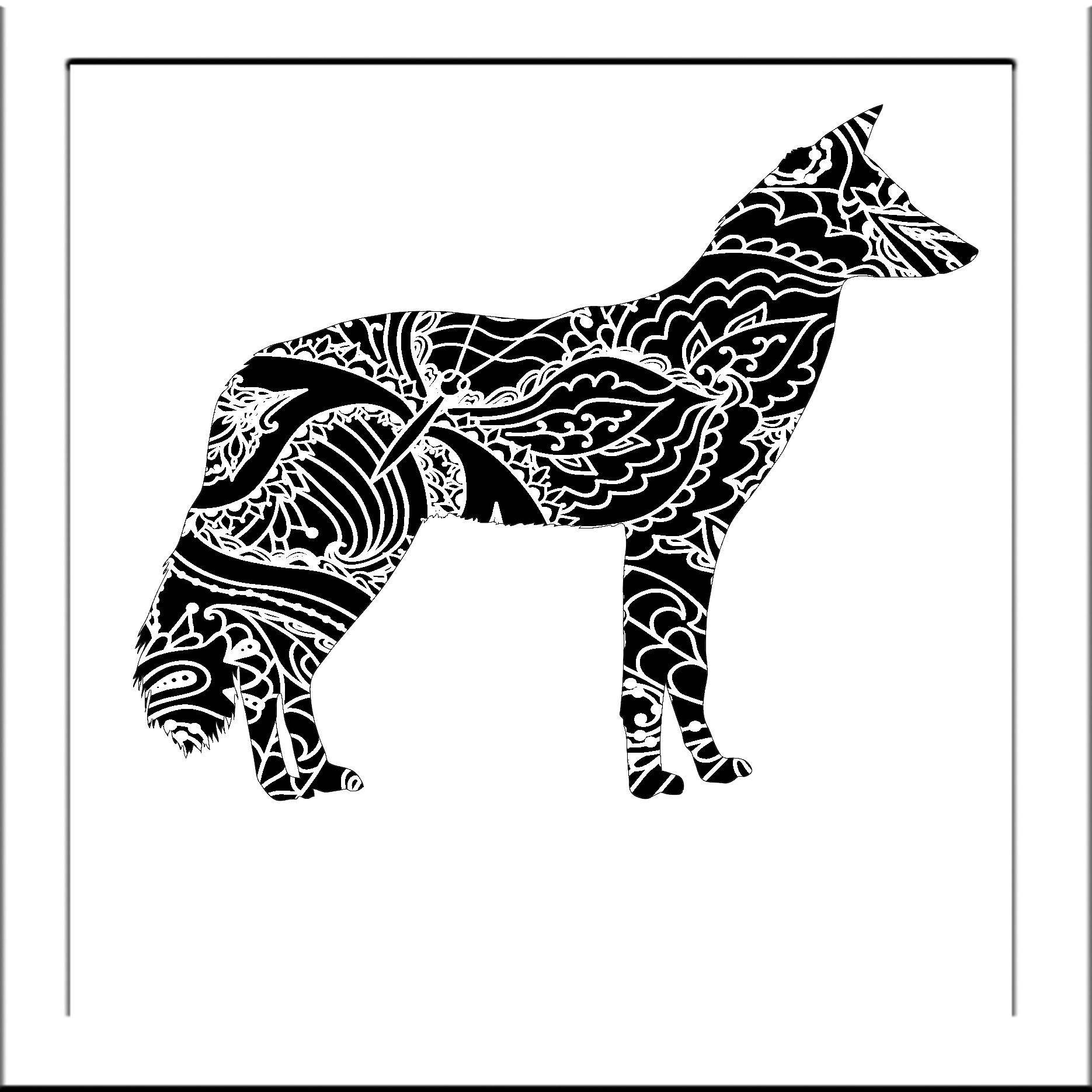 Arte Queer Pdf Dog Jackal Papercut Template Dogs Svg Paper Cut Templates