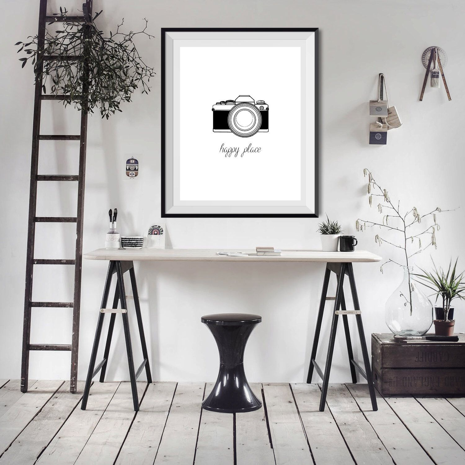 Happy Place Camera Photography Photographer Shooting Word Quote    Minimalist Art   Office Decor   Poster Wall Art Home Decor Typography