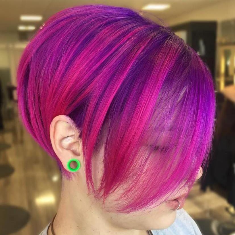 Purple And Magenta Bob Magenta Hair Short Purple Hair Short Hair Styles