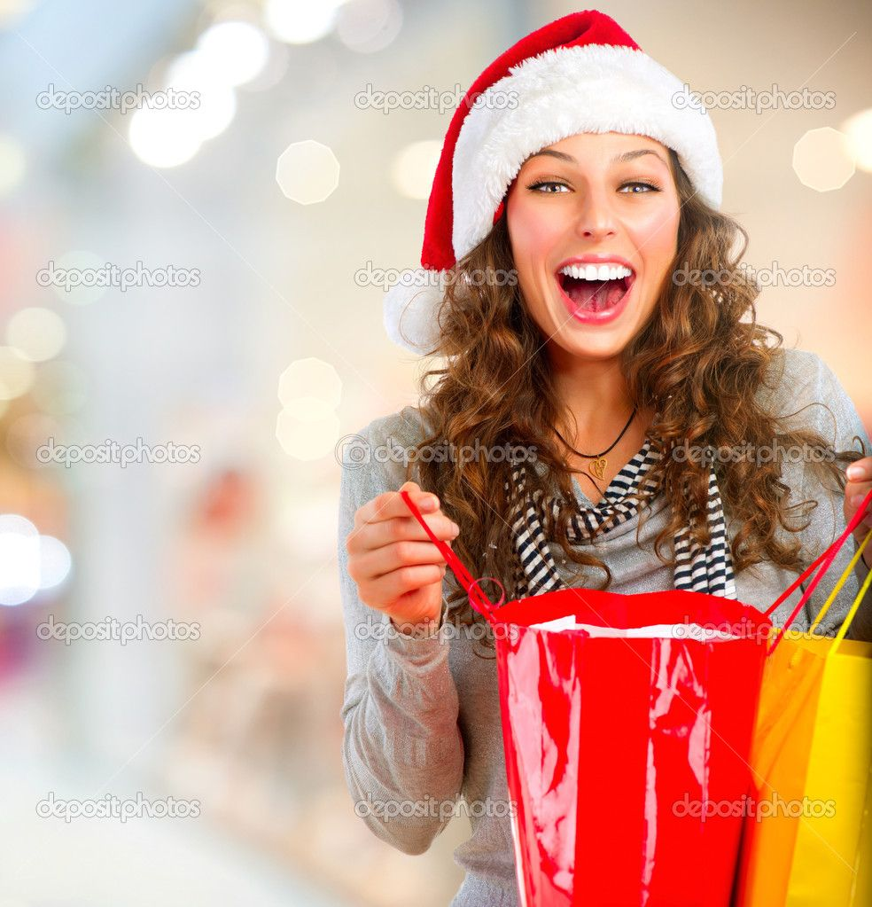 Christmas Shopping. Happy Woman with Bags in Mall. Sales — Stock ...