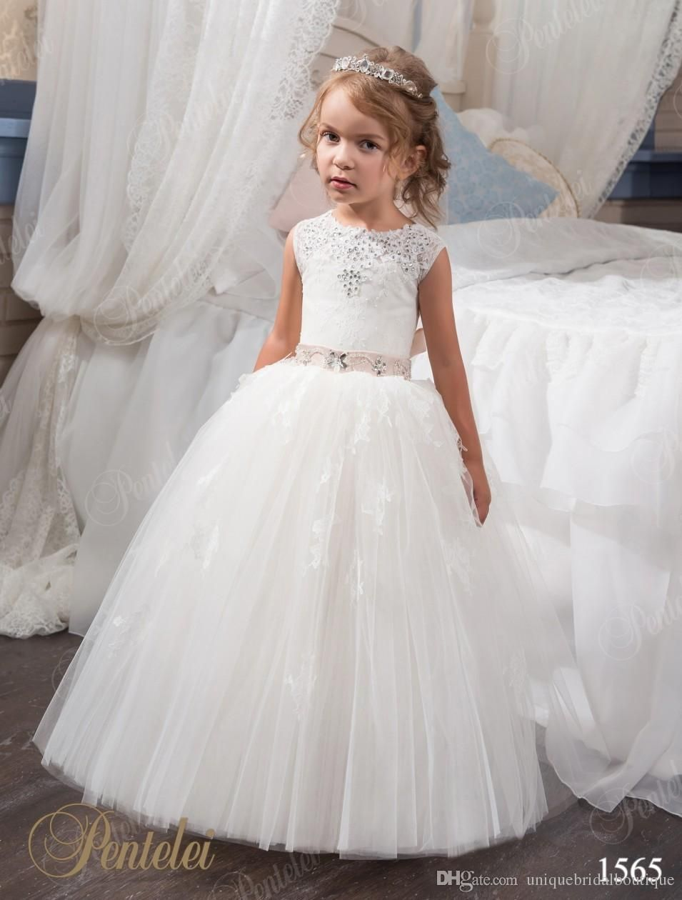 First Communion Dresses for Little Girls 2017 with Beaded Neck and ...