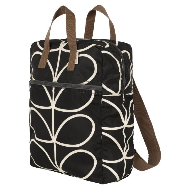 ee46ccd938a Orla Kiely Giant Linear Stem Packaway Backpack Tote - Liquorice ...