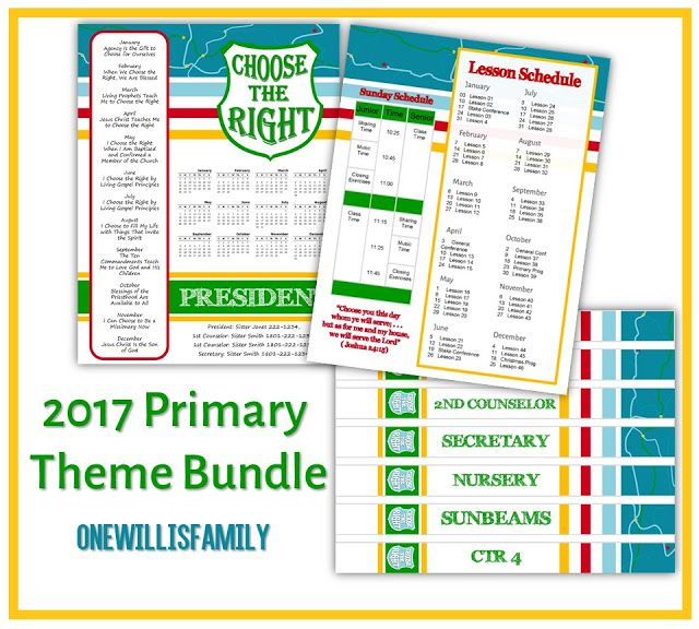 One Willis Family: 2017 LDS Primary Theme Bundle: Choose the right ...