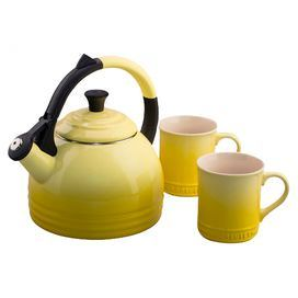 """Steel and stoneware kettle in Soleil with two matching dishwasher safe mugs.   Product: Kettle and 2 mugsConstruction Material: Steel and stonewareColor: SoleilFeatures:  Resists chips, scratches and stainsKettle has whistle alerts when water has reached a rolling boilKettle has an anit-slip handle   Dimensions: Kettle: 10.2"""" H x 8.50"""" WMug: 4.5"""" H each Cleaning and Care: Mugs are microwave and dishwasher safe"""