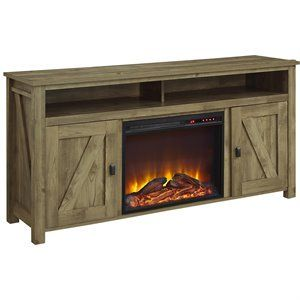 Altra Furniture Farmington 60 Fireplace Tv Stand In Light Pine