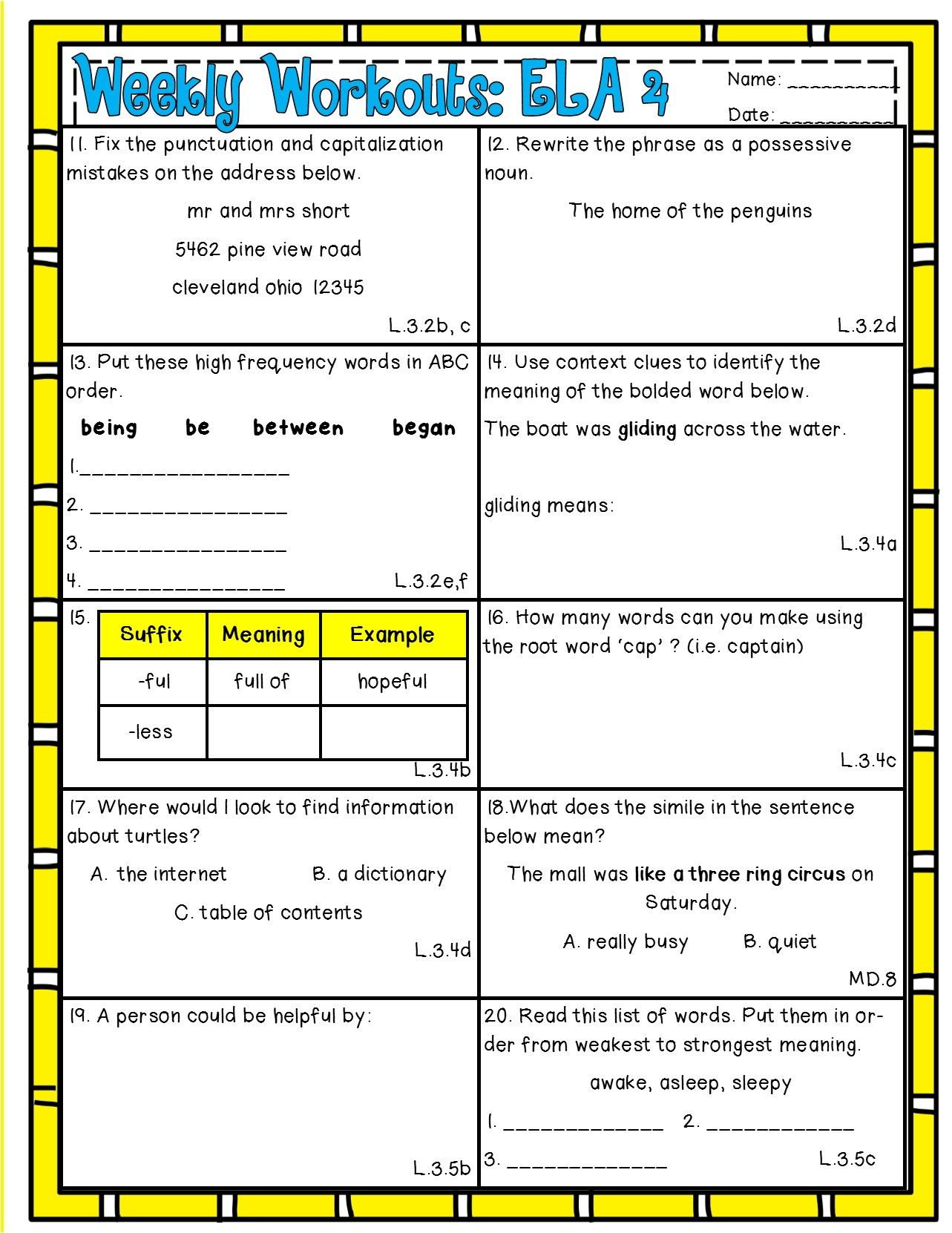 Weekly Workouts Language Arts 3rd Grade Preview Review Weekly Activities Teaching Third Grade Language Language Arts Writing [ 1662 x 1283 Pixel ]