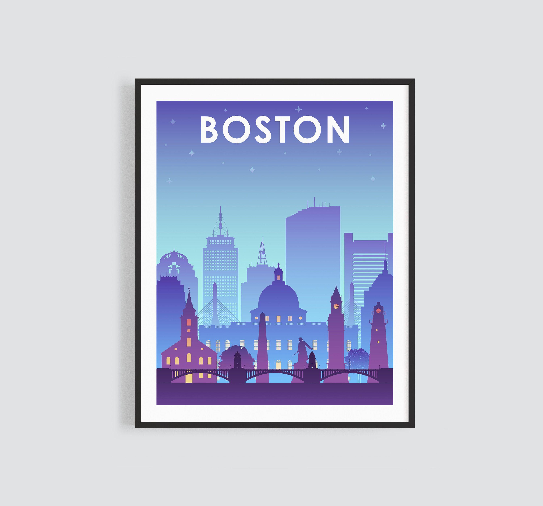 Boston Skyline Printable Wall Art Night Boston City Skyline Etsy Printable Wall Art Wall Printables Wall Art