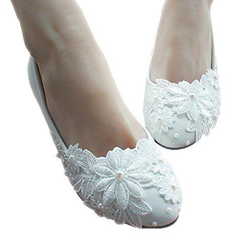 152d47e3798d iBinGo Handmade White Pearl Lace Flowers Wedding Shoes fo... https