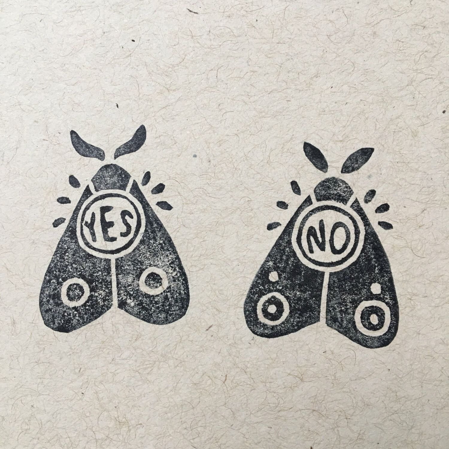 Planchette oracle moths hand carved rubber stamp Hand