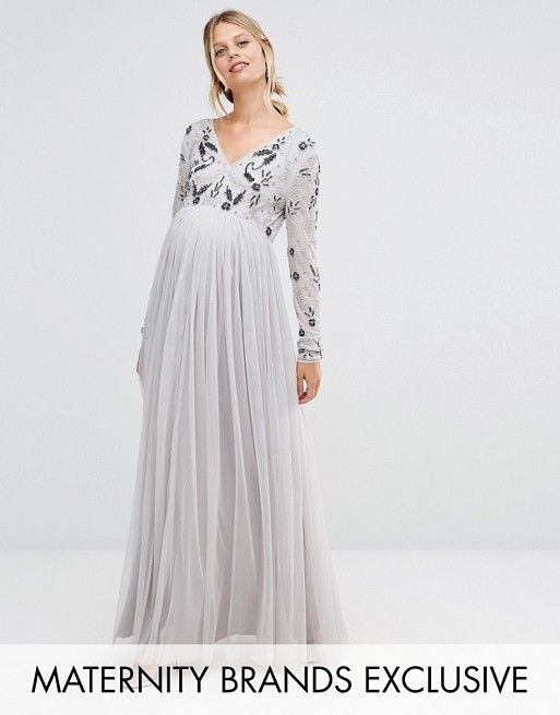 ec942b910a9 Maya Maternity Long Sleeve Embellished Bodice Maxi Dress With Tulle ...