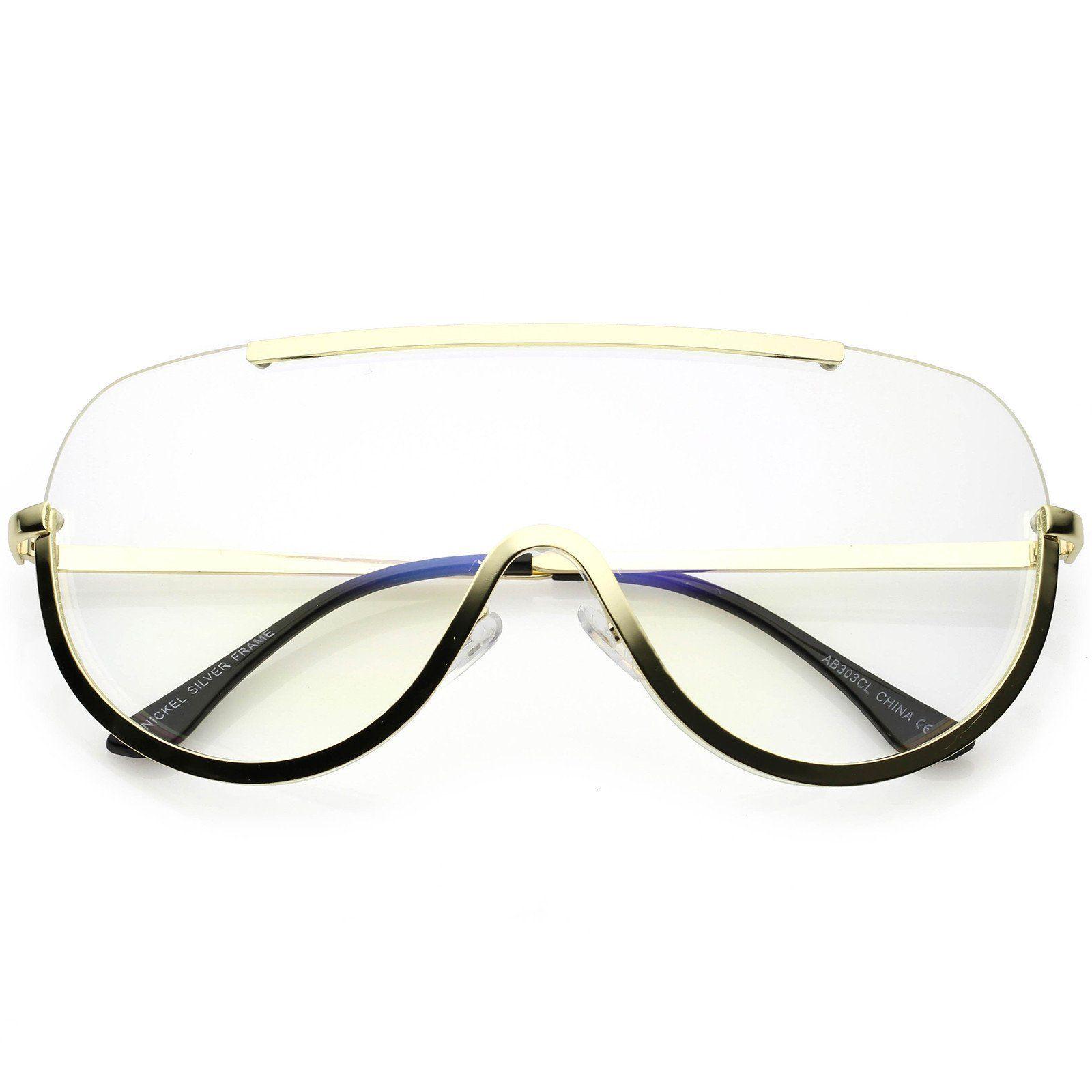 oversize semi rimless shield eyeglasses metal trim clear mono lens