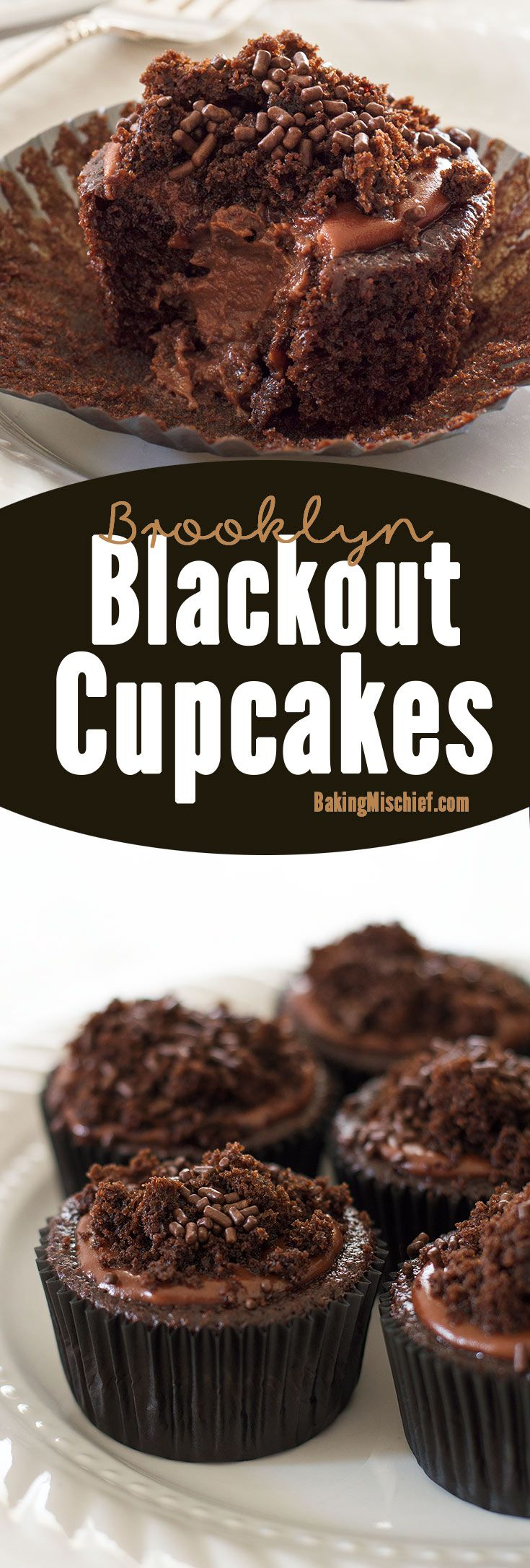 Insanely chocolatey Brooklyn Blackout Cupcakes made with three different types of chocolate, stuffed with a creamy chocolate pudding, and topped with sprinkles and a chocolate glaze. Recipe includes nutritional information. From BakingMischief.com