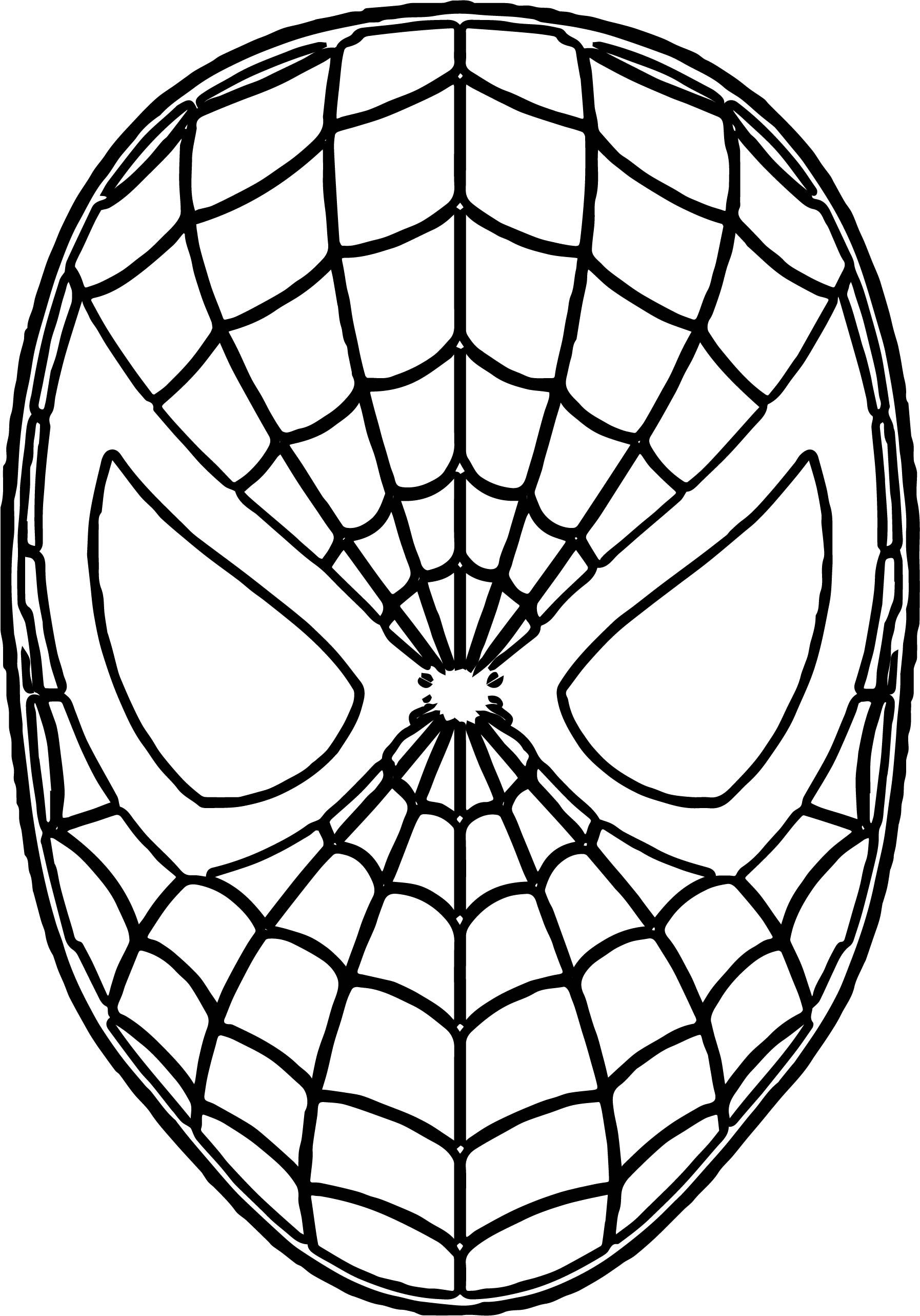 Nice Free Spider Man Mask Face Coloring Page Spiderman Coloring