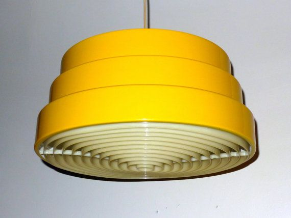 Yellow metal danish modern chandelier 3 tier with plastic diffuser bright yellow danish modern chandelier stunning pendant lamp has a yellow enamel finish on a 3 stepped metal shade interior of shade is white mozeypictures Image collections