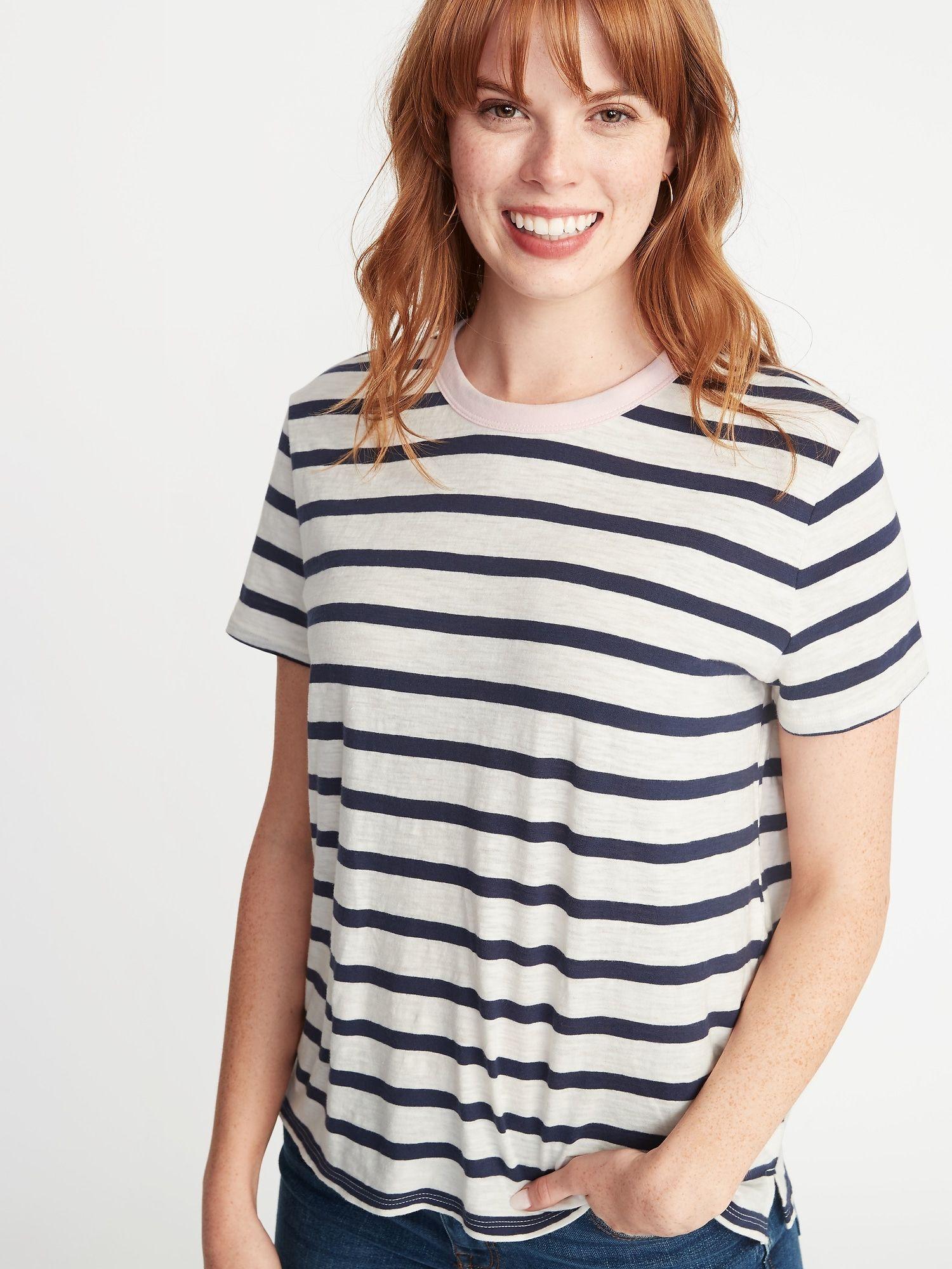 261e19ecaf Striped Boyfriend Ringer Tee for Women in 2019 | Wishlist | Old navy ...