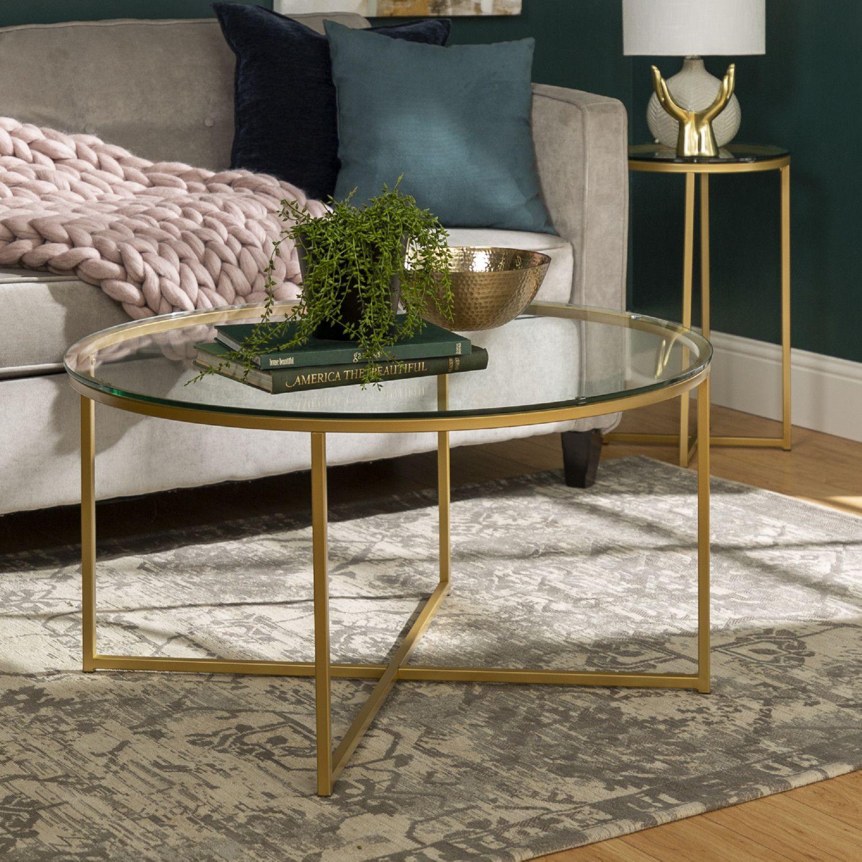 Walker Edison Gaf36alggd 2 Piece Round Coffee Table Set Glass Gold In 2021 Round Glass Coffee Table Table Decor Living Room Round Coffee Table Sets [ 1500 x 1500 Pixel ]