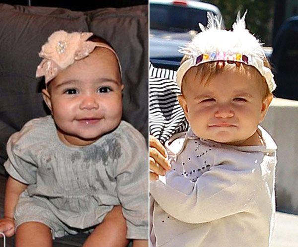 North West & Penelope Disick rock floral headbands