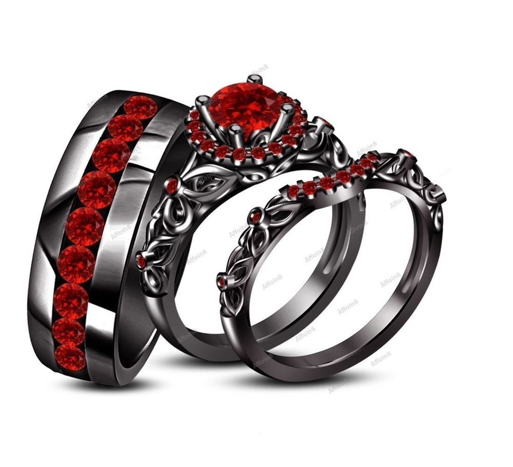 Channel Setting 3 10 Ct Round Cut Red Garnet His Her Trio Ring Set