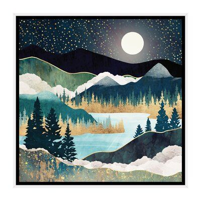 East Urban Home Star Lake By Spacefrog Designs Print Size 37 H X 37 W X 1 5 D Format White Framed Canvas In 2021 Tapestry Art Tapestry Psychedelic Tapestry