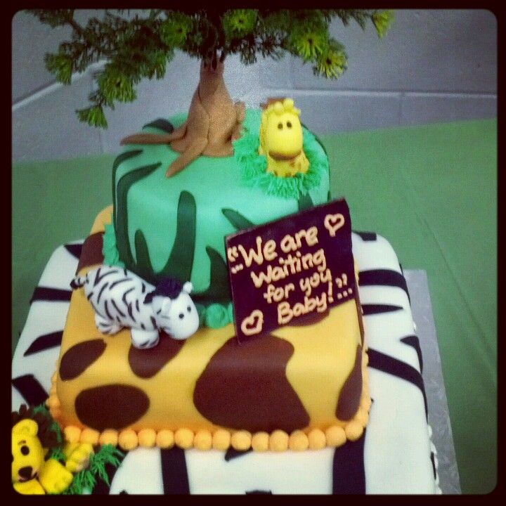 Baby shower cake jungle theme unknown sex