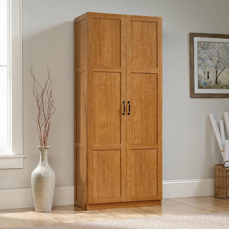 Sauder Homeplus Storage Cabinet In Sienna Oak Vozeli Com