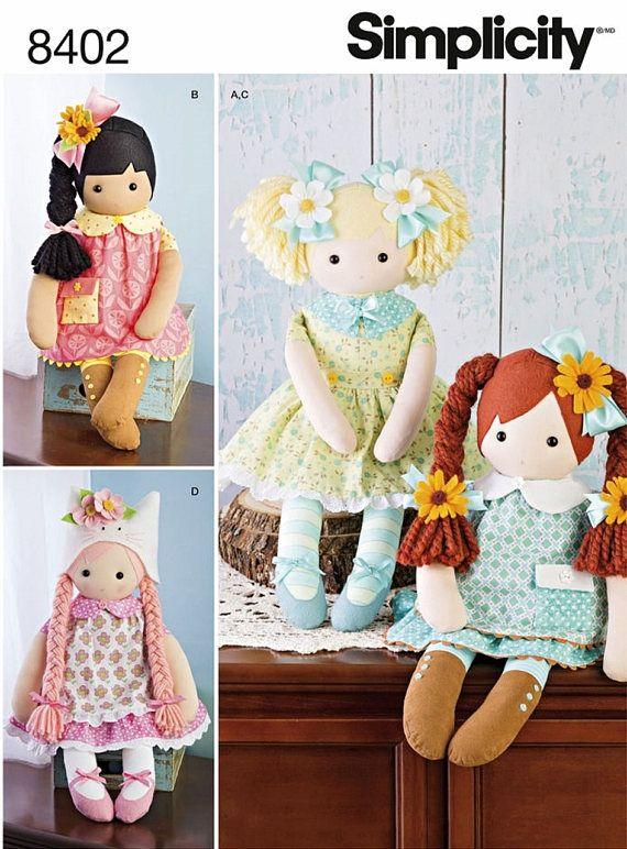"18/"" Fabric Cloth Rag Doll Toy Purple Dress /&  Hat NEW"