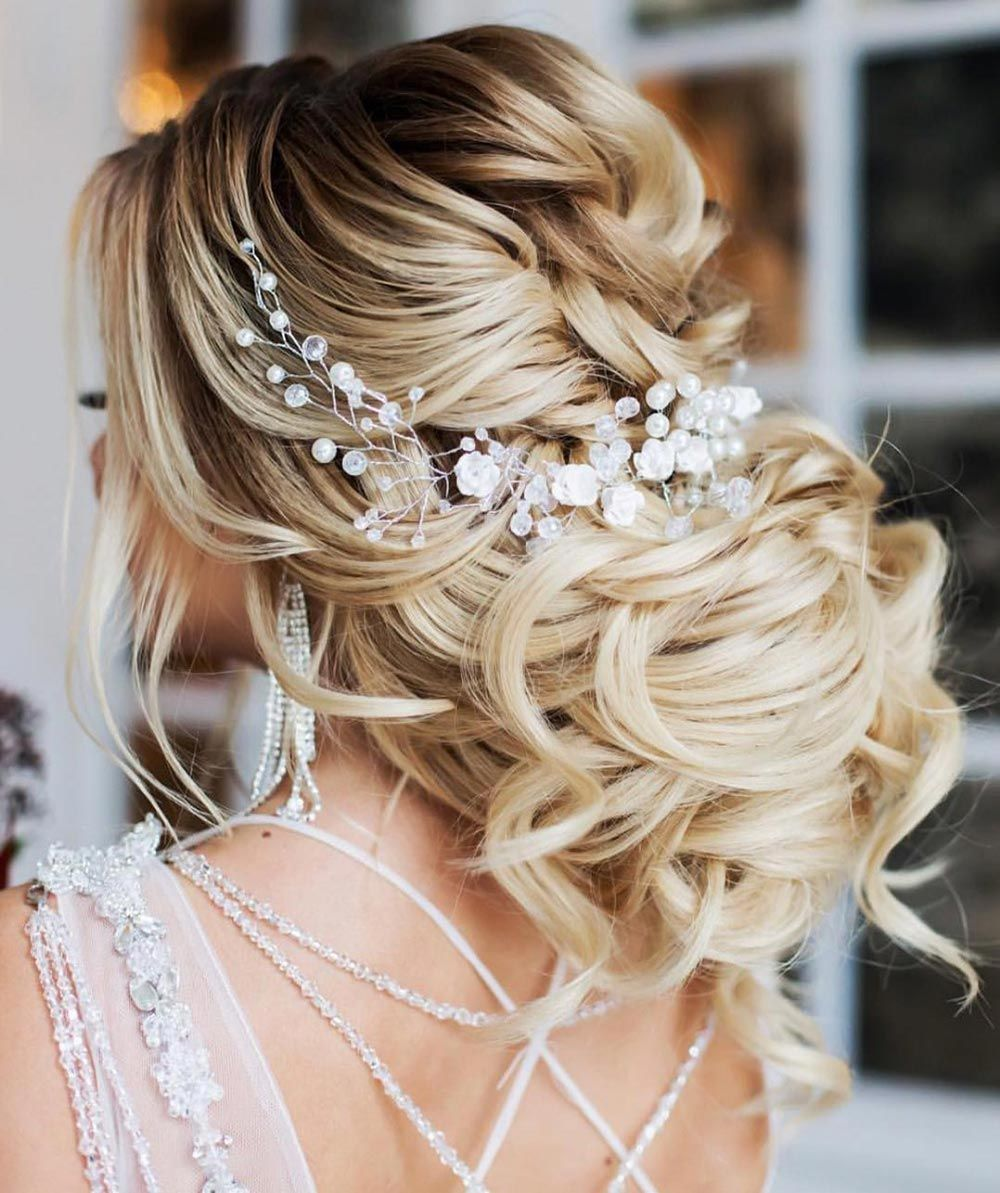 34 Loose Wedding Updos For Brides With Long Hair Ruffled Long Hair Styles Bride Updo Bride Hairstyles