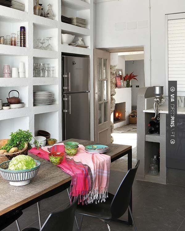Wow! bookcase style kitchen shelving | CHECK OUT MORE GREAT KITCHEN IDEAS AT DECOPINS.COM | #kitchens #kitchen #kitchenremodel #remodeling #homedecor #homedecoration #decorators #decorating #interiordesign #kitchenideas