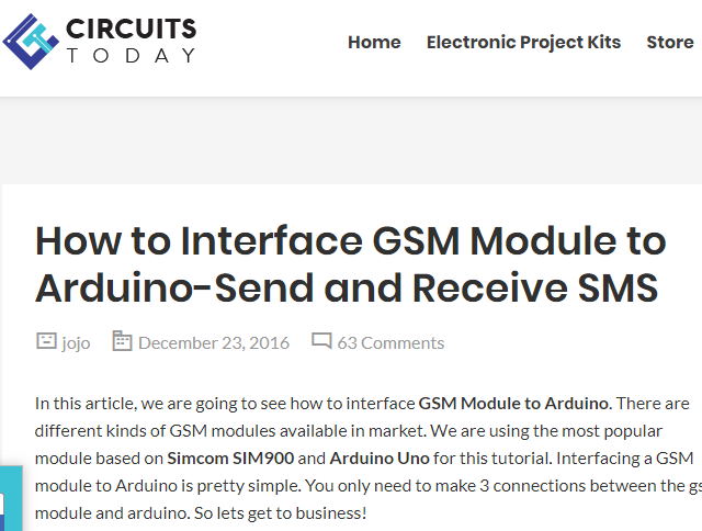 How to Interface GSM Module to Arduino-Send and Receive SMS | SMS