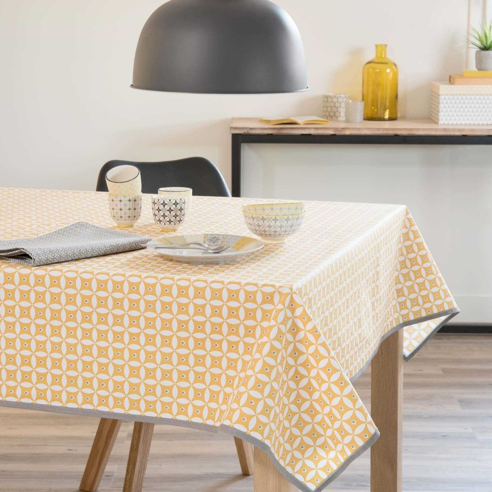 nappe enduite en coton jaune 140 x 140 cm malveira linge. Black Bedroom Furniture Sets. Home Design Ideas