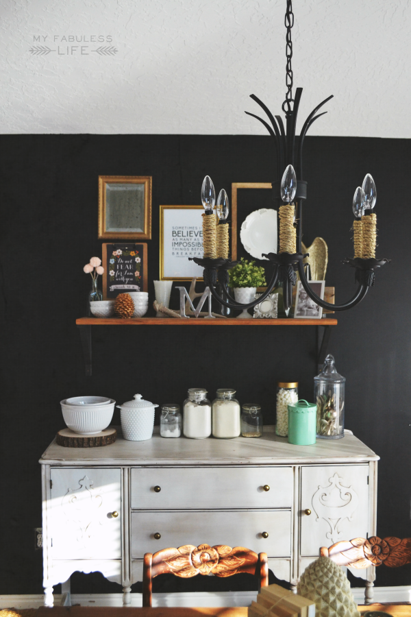 Black walls in the dining room
