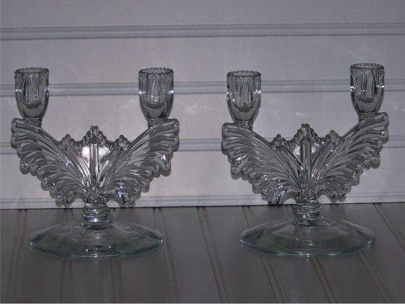 Dual light Elegant glass candle stick by TheCornerVintageShop, $35.00