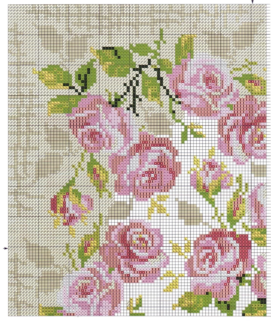 roses, cross stitch, intarsia knitting pattern | Patterns ...