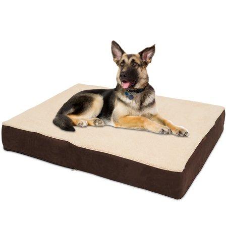 Kopeks Rectangular Orthopedic Memory Foam Dog Bed Brown X Large Walmart Com In 2021 Memory Foam Dog Bed Covered Dog Bed Dog Pillow