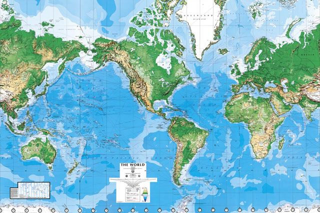 World Map Wall Paper Mural. Made Up Of 8 Panels Measuring