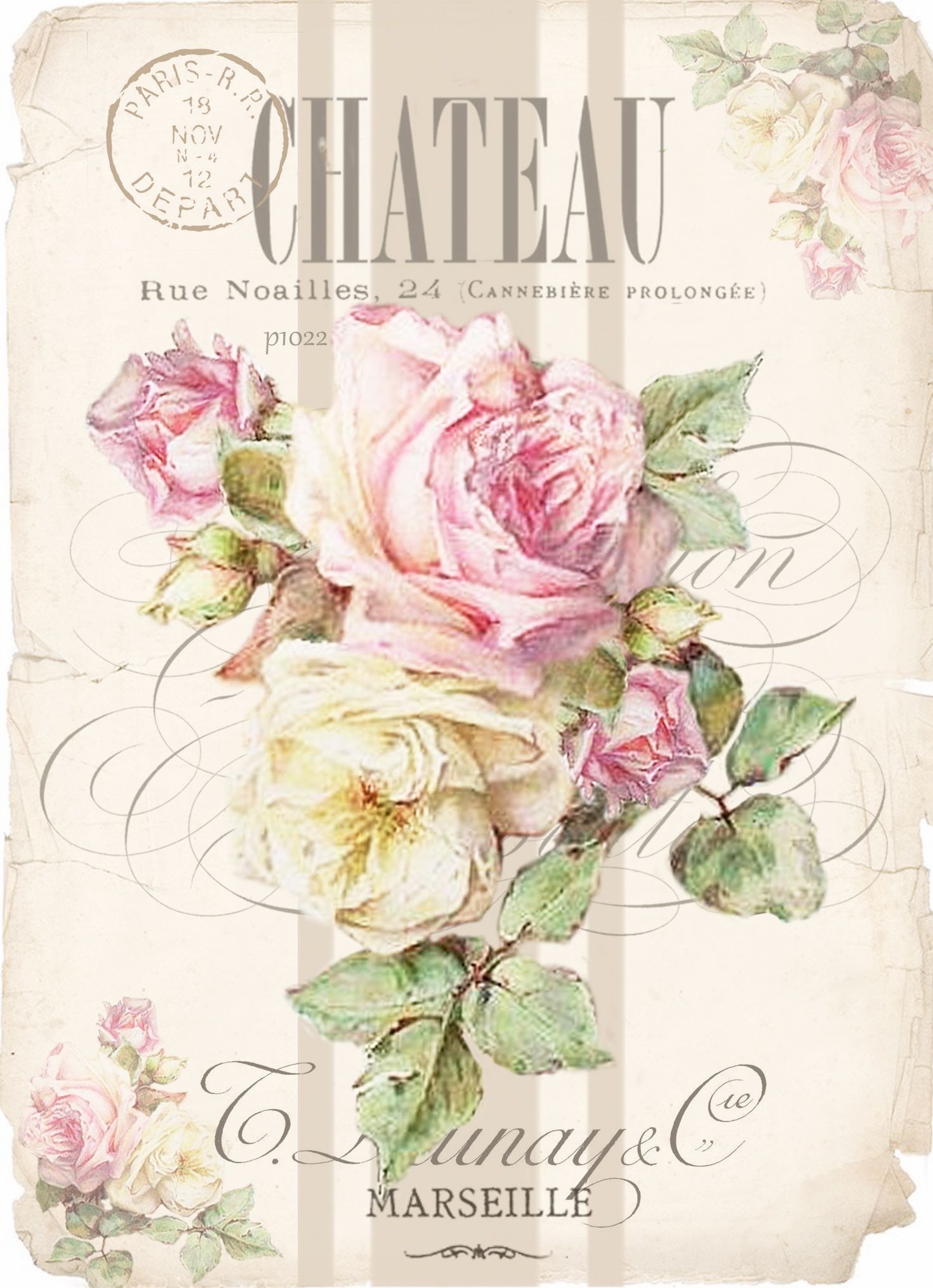 Chateau Vintage Roses Digital Collage Design P Free To Use