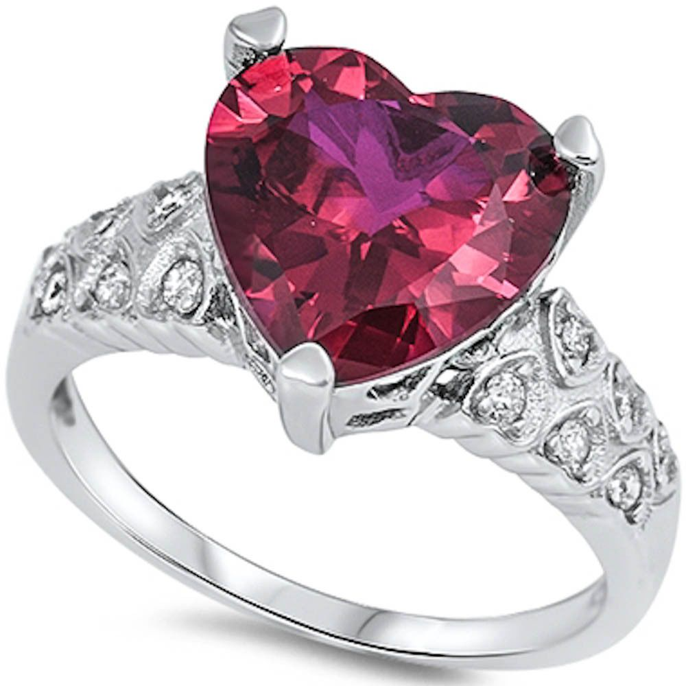 Oxford Diamond Co Sterling Silver Round Simulated Gemstone Ring Sizes 4-11
