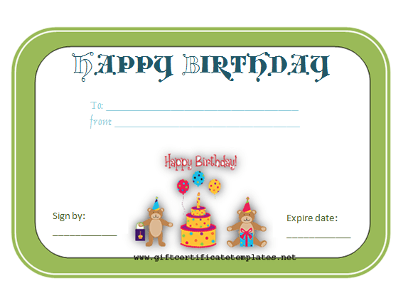 bear birthday gift certificate
