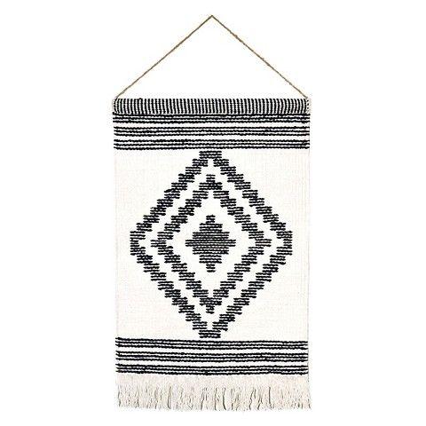 "Target Wall Hangings 18""x26"" diamond hand woven art - black & white nomad pattern"