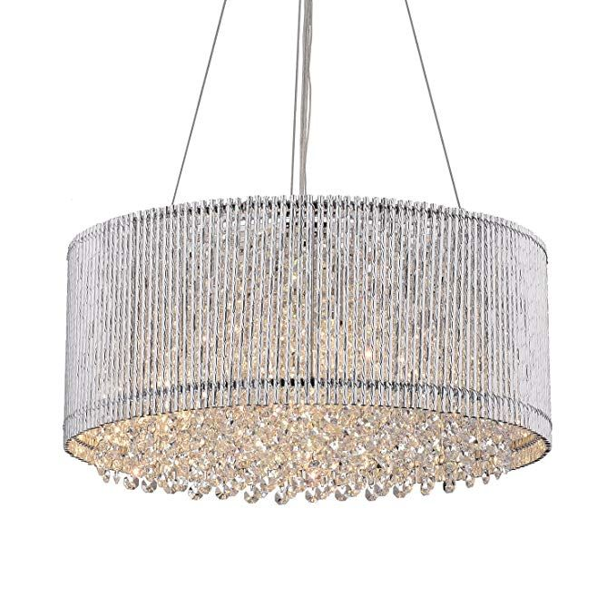 NEW 4Lights Drum Chandelier Modern Crystal Ceiling Light Fixture Pendant Lamp US