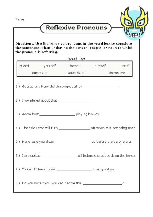 Reflexive Pronouns Pronoun worksheets, Nouns, pronouns