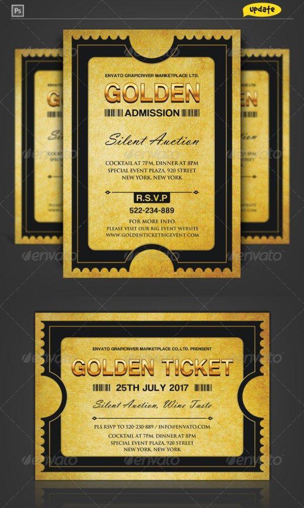 Golden Silver Ticket Template Templates Pinterest Ticket