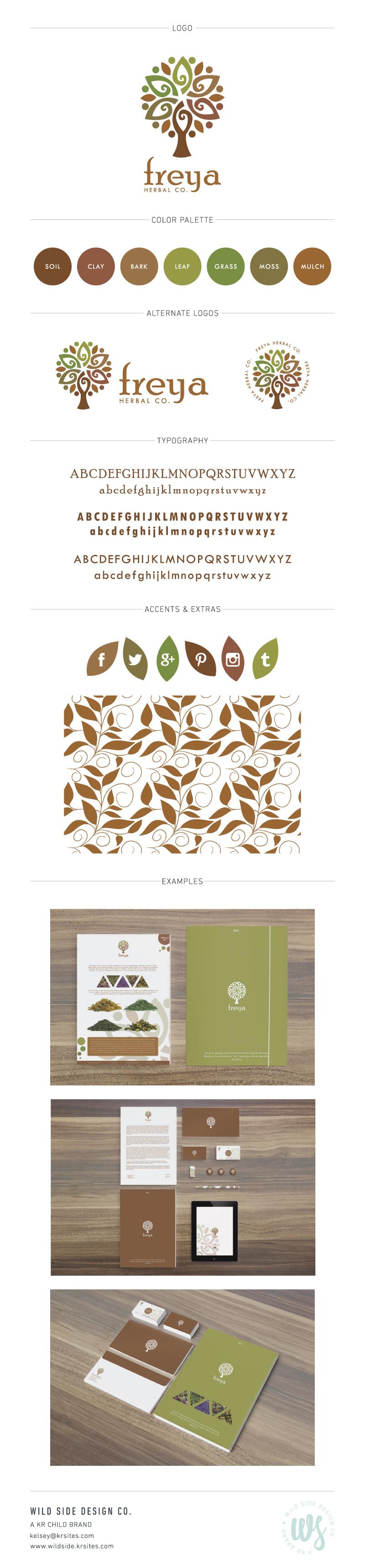 Brand Launch | Brand Style Board | Herbal Company Branding | Freya Herbal Co. Brand Design by Wild Side Design Co. | #branding www.wildside.krsites.com